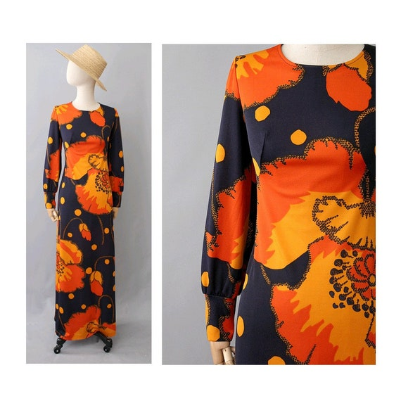 Vitos 1970s  french maxi floral Dress / 70s long s