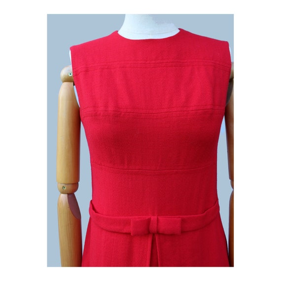 1960s  Cherry red Mod sleeveless wool  mini dress… - image 5