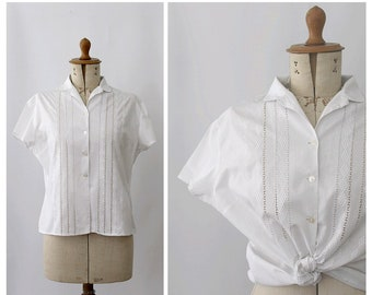 1950 french embroidered  Blouse / 50s white summer blouse / french vintage blouse