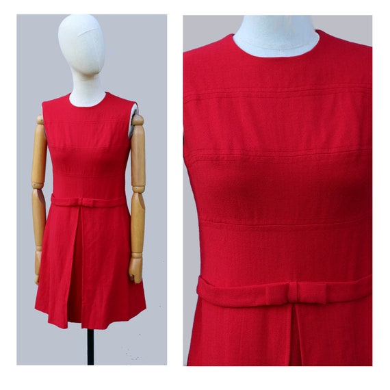 1960s  Cherry red Mod sleeveless wool  mini dress