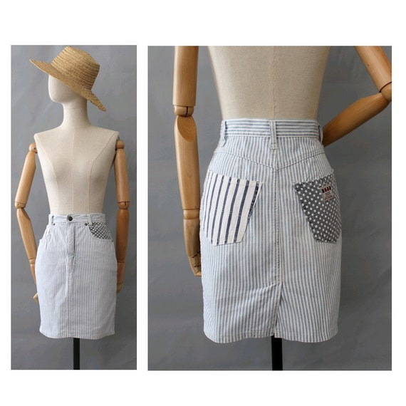 1990s Blondie stripes denim Skirt patchwork / 90s
