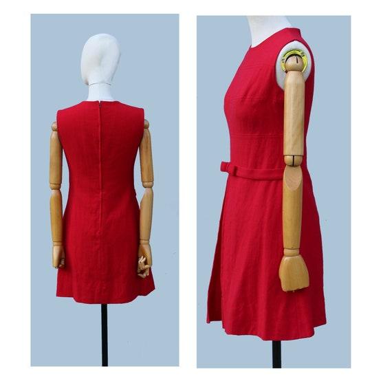 1960s  Cherry red Mod sleeveless wool  mini dress… - image 3