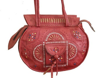 70s MOROCCAN BAG tooled red leather  / shoulder