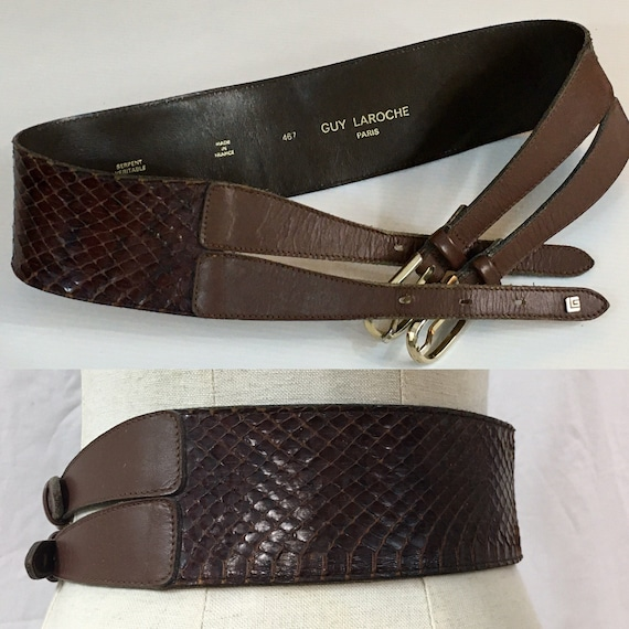 1970s Guy Laroche snake belt /70s Paris couture sn