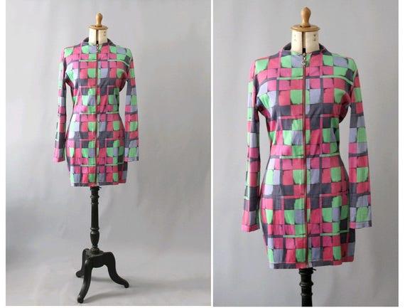 Versace Versus 1990s Arlequin Dress/ 90s Gianni Ve