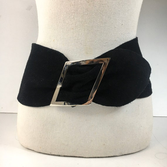 1980s wide corset belt / 80s french design wide b… - image 1