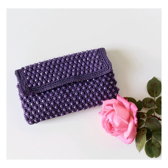 1960 purple beaded clutch / Sixties clutch bag / p