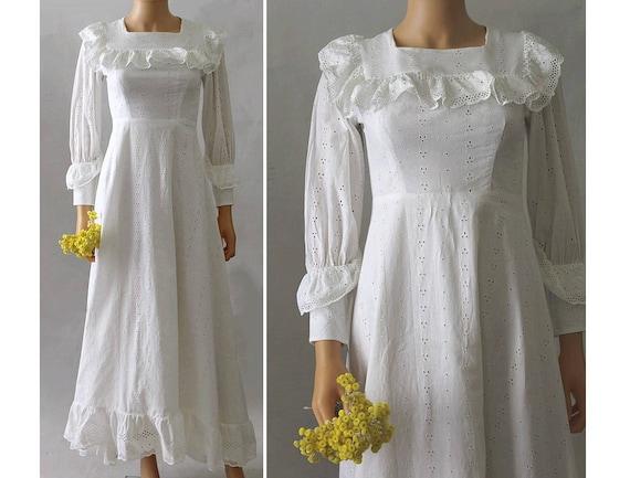 1960 french wedding gown / 60s eyelets long dress/ 60s wedding   Etsy