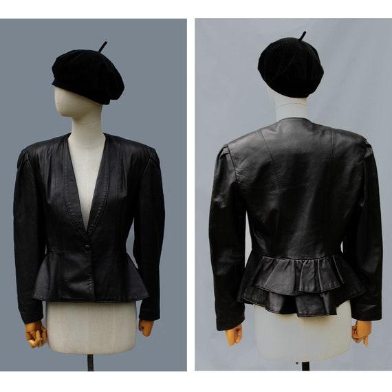 1980s  Paris peplum leather jacket  / 80s couture