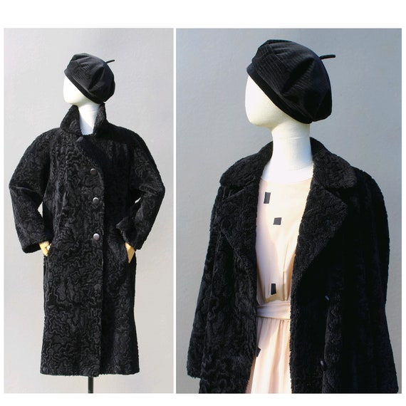 1990s Cacharel black fake fur Coat / Vintage black