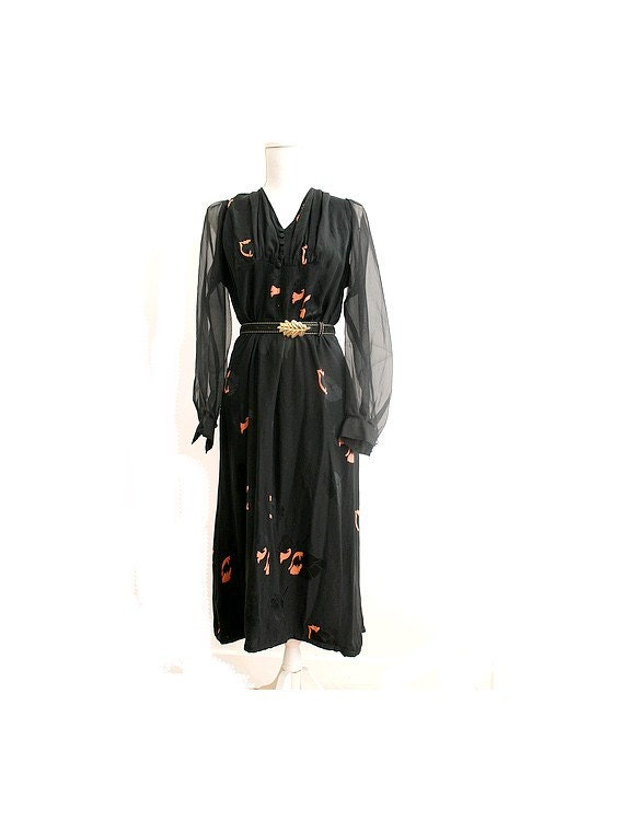 1970s silk Dress /70s cocktail dress/70s silk chif