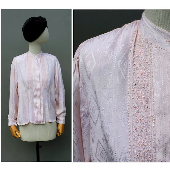 1990s Rene Derhy dust pink embroidered Blouse / in