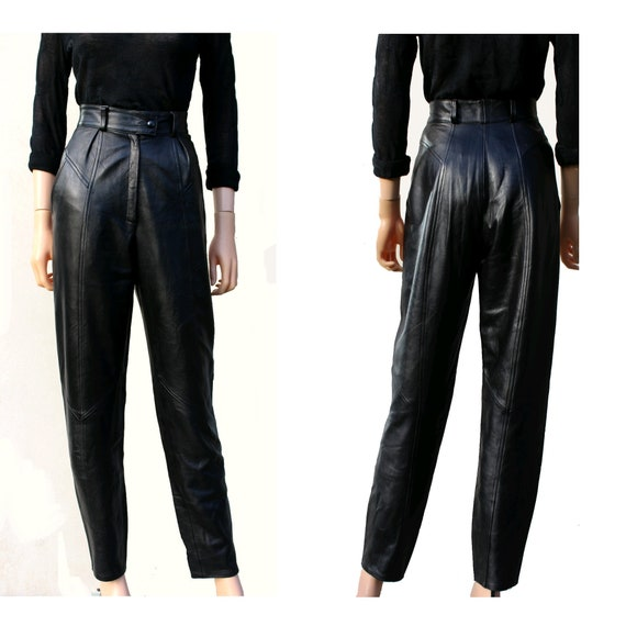 80s  black leather tapered pants / french black le