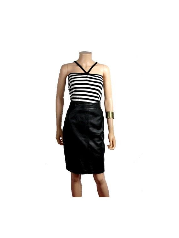 Vintage black leather pencil skirt fr36 small / Bl