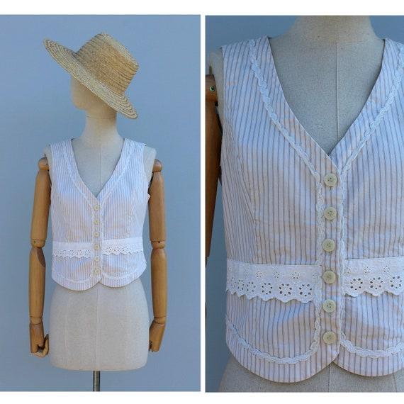 Vtg striped beige cotton sleeveless top / front bu