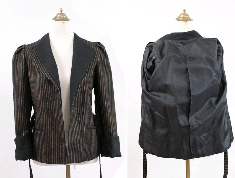 1980 stripes Belted wrapped Blazer Jacket small 80s striped wool belted jacket kimono jacket