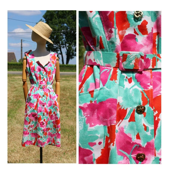 1980 cotton floral sleeveless dress / 80s french c