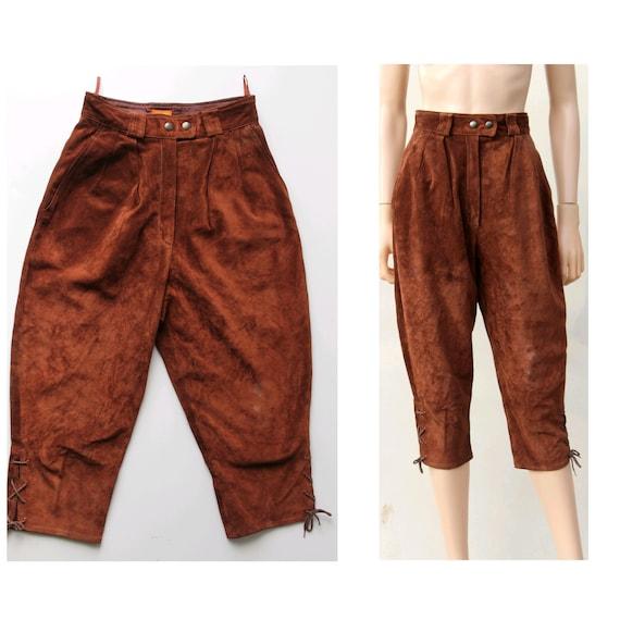 1980s Kenzo Paris leather high knee pants / rust s