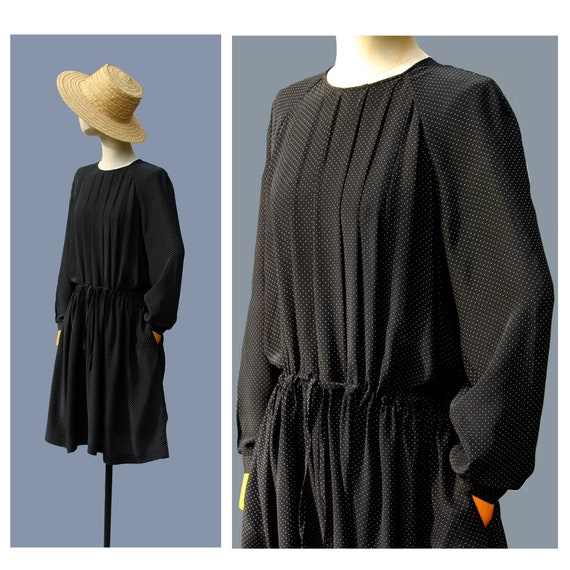 1980s Cacharel silk dress , polka dots , long slee