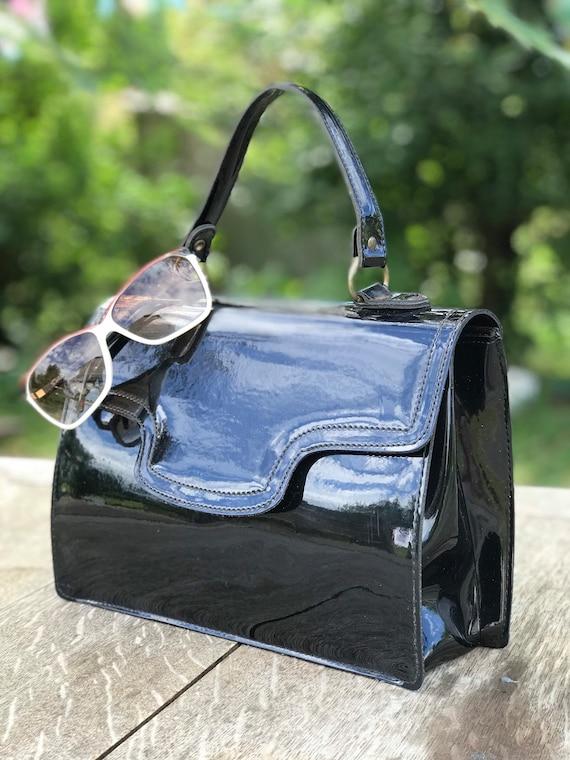 1960s black patent handbag / 60s top handle bag /m