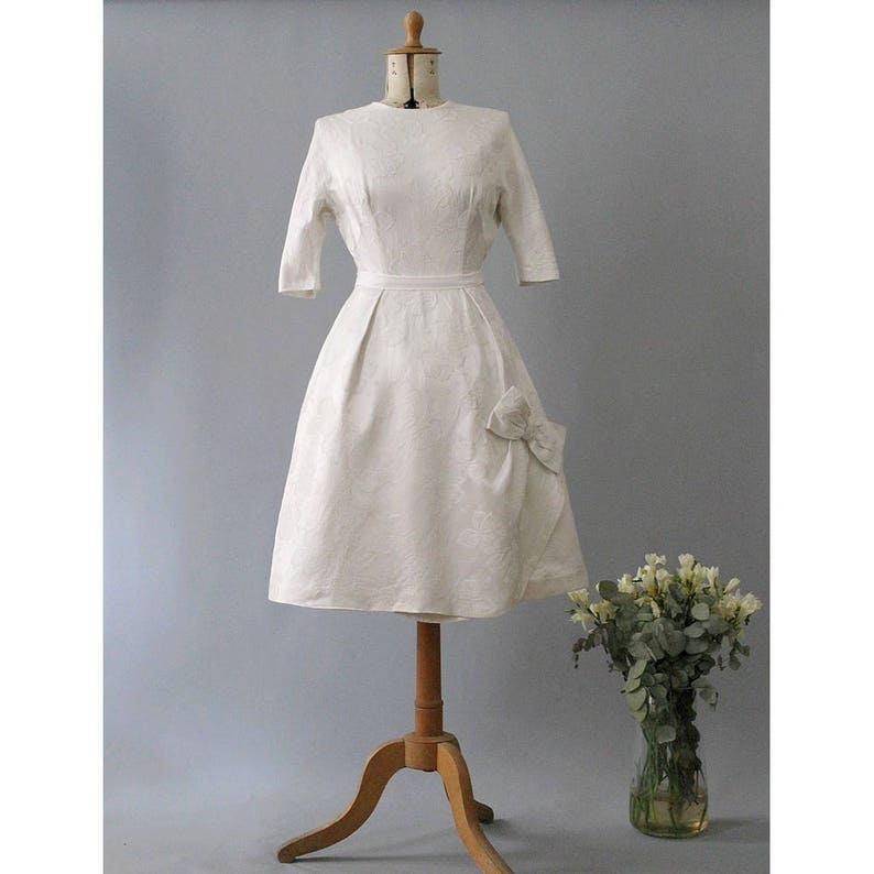 Toujours 1950s French wedding dress silk damask roses knee image 0