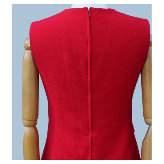 1960s  Cherry red Mod sleeveless wool  mini dress… - image 4