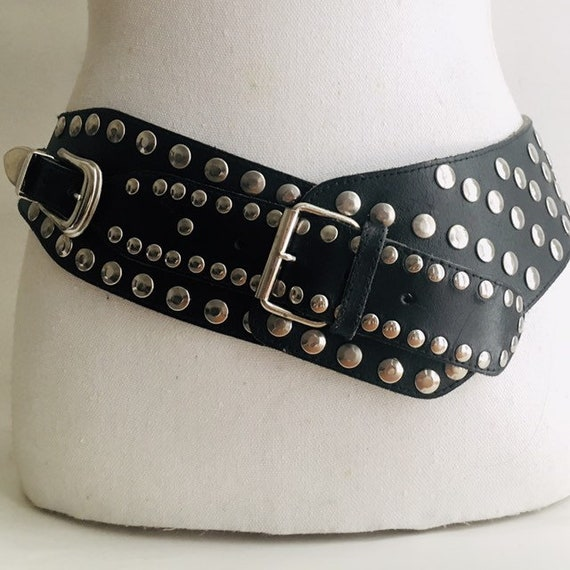 1980s wide stud belt / 80s french wide black belt