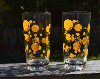 Mid Century Modern. Vandel High Ball Glasses. Set of 2. Vandel Bar.  Heavy Tumbler. Orange Bubble Tumblers. Vandel Bubble Tumblers.  - VG184