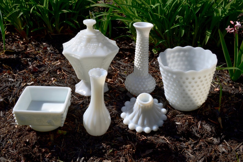 EO Brady VG232 Compote Vase Candlestick Collection Vintage Hobnail Milk Glass Mixed Collection Westmoreland Grapes Set of 7