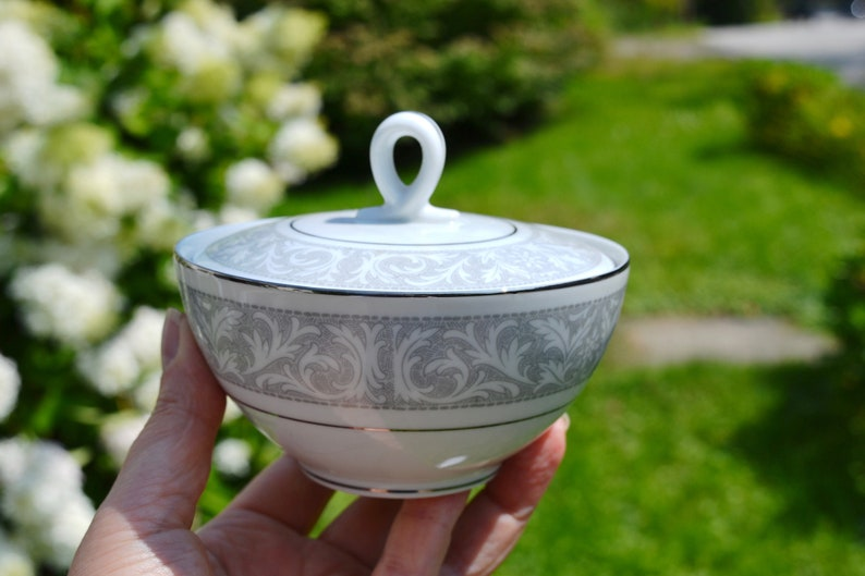 Gray White VC397 Covered Sugar Bowl with Lid Replacement China Fancy Table Serving Piece Imperial China Dalton Whitney Pattern 5671
