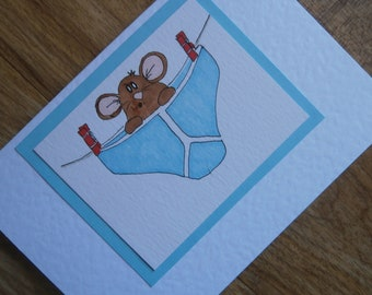 Pants! Individually handmade Greetings card featuring a cheeky mouse in a pair of pants. Original one of a kind illustration.
