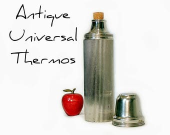 Antique Stainless Thermos - Universal Thermos -  Ribbed - Cork Stopper - Landers Frary Clark - American Thermos Bottle Co. - Stainless Steel