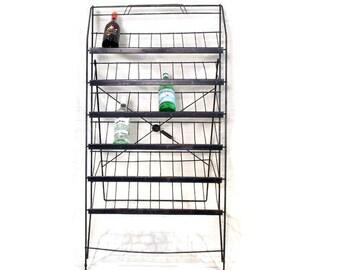 Vintage Industrial Store Display  - Wire Wine Rack - Magazine Holder - Book Shelf - Organizer - Storage