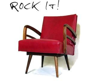 RESERVED for CHRISTINA Vtg Mid Century Modern Chair - Vinyl and Wood - Platform Spring Rocker - Atomic  Red - Tapered Legs - 1950s Furniture