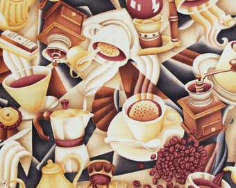 Coffe Talk by Hoffman E402 Cotton Print Fabric -OOP