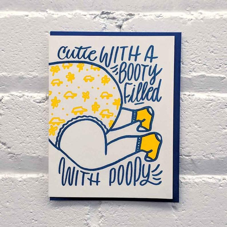 Poopy Diaper Letterpress Baby Card
