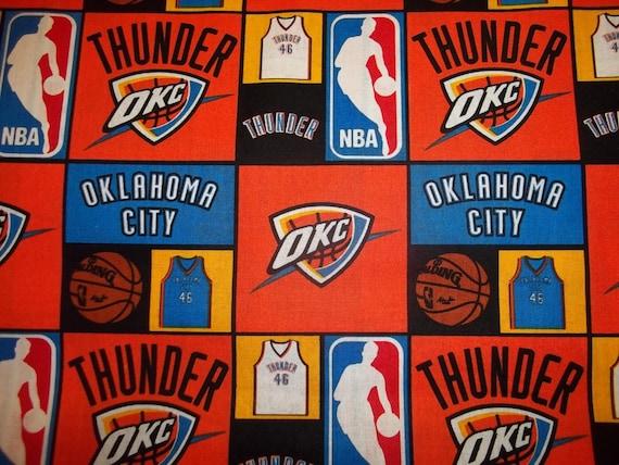 OKLAHOMA CITY  THUNDER 100/% COTTON  NEW! MULTI COLOR SQUARES 1//2 YD PIECE NBA