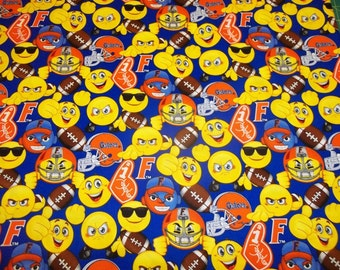 "FLORIDA GATORS EMOJI'S New Design  Fabric   - 100% Cotton - 1/2  Yard  Piece 18"" x 44"" New Design"