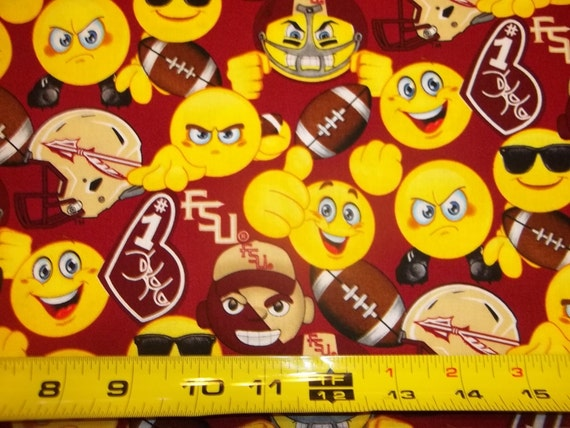 ALL NEW DESIGN EMOJI/'S  100/% COTTON  1//2 YD PIECE FLORIDA STATE UNIVERSITY FSU