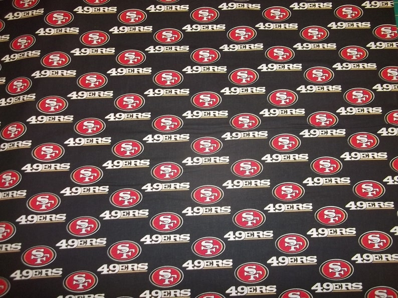 NFL SAN FRANCISCO 49ERS ON BLACK FABRIC MATERIAL Fabric Sold By The 1//2 Yard!