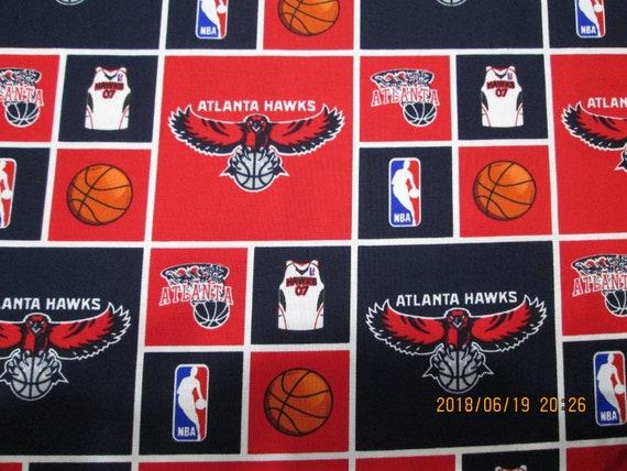 ATLANTA HAWKS  BRAND NEW DESIGN 100/% COTTON MULTI COLOR 1 YARD PIECE NBA