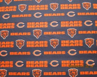 CHICAGO BEARS   NFL  Football  Fabric 1 Yard   Piece  Blue  and Orange  100% Cotton