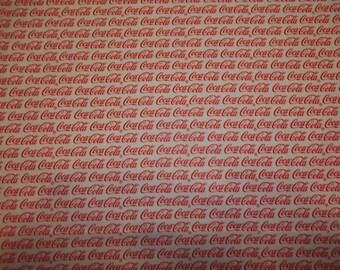 COKE COLA   Design    pattern  1/2  Yard Piece 100% Cotton Very Cute Fbaric