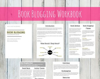 INSTANT DOWNLOAD Book Blogging Workbook: A Beginner's Guide - Tips and Tricks for Writing A book blog, book reviews, creativity, ideas