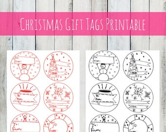 INSTANT DOWNLOAD Cute Christmas Gift Tags, Template, labels for gifts, printable art, gift for her, gift for mom, art print, art prints