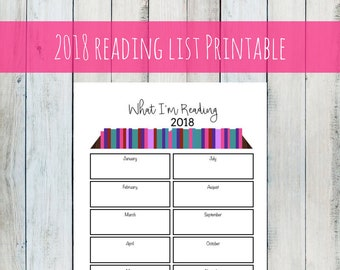 INSTANT DOWNLOAD pdf 2018 planner printable book organizer habit tracker book monthly planner book planner 2018 scrapbook reading to do list