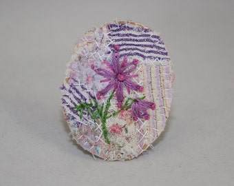 Embroidered Embellished Brooch - Purple Fantasy Flower