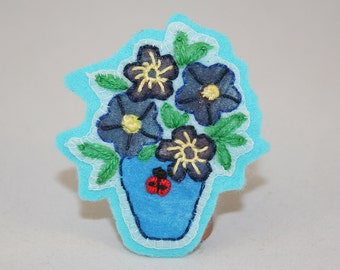 Ladybird Brooch - on blue plant pot Embroidered and painted by Lynwoodcrafts