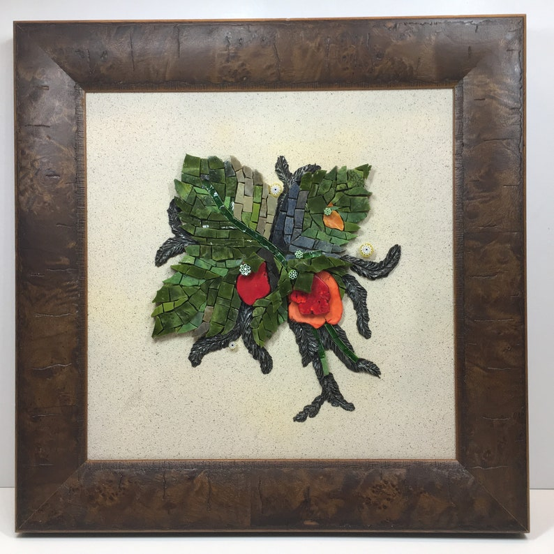 Handmade Mosaic Mixed Media Framed Wall Art Stained Glass Red Coral Stone Botanicals Floral Theme