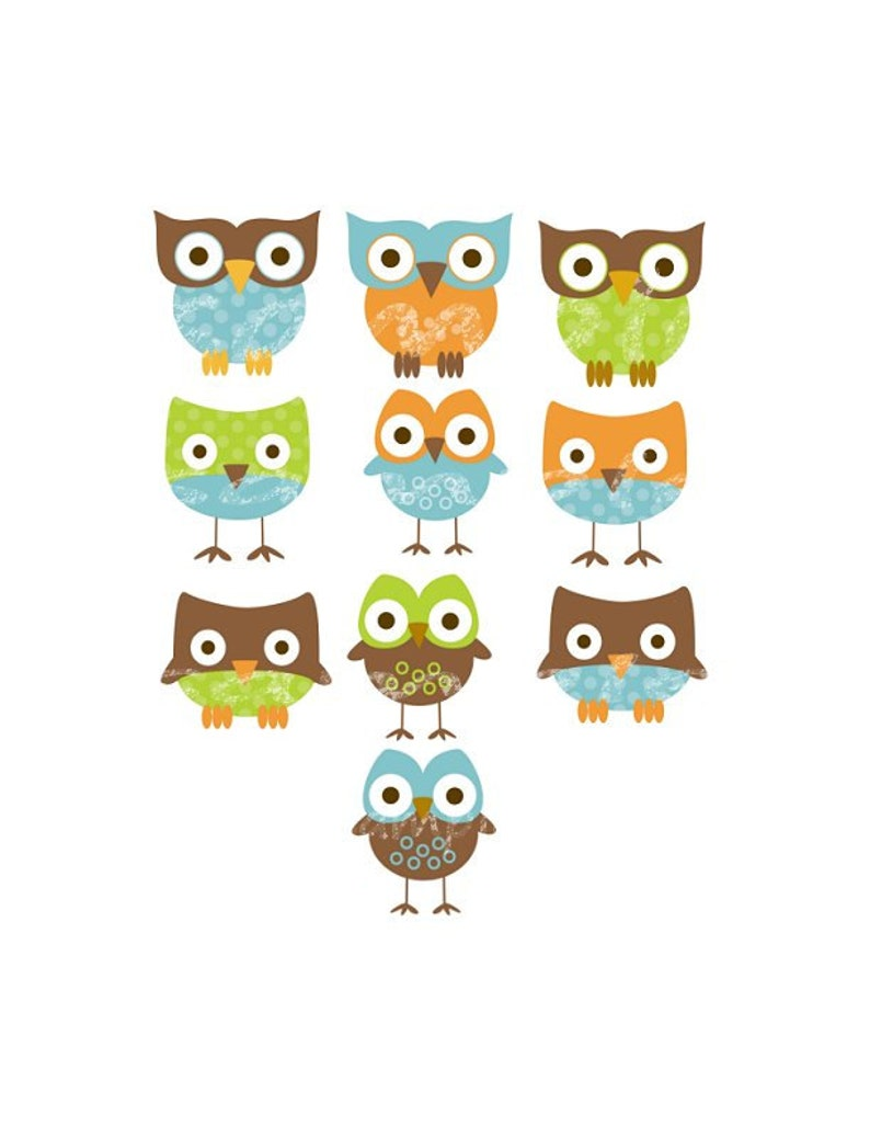4.5x4 Set of 10 Iron On Heat Transfer Sheets.. Green Blue OWL Appliques for  Baby Boy Shower
